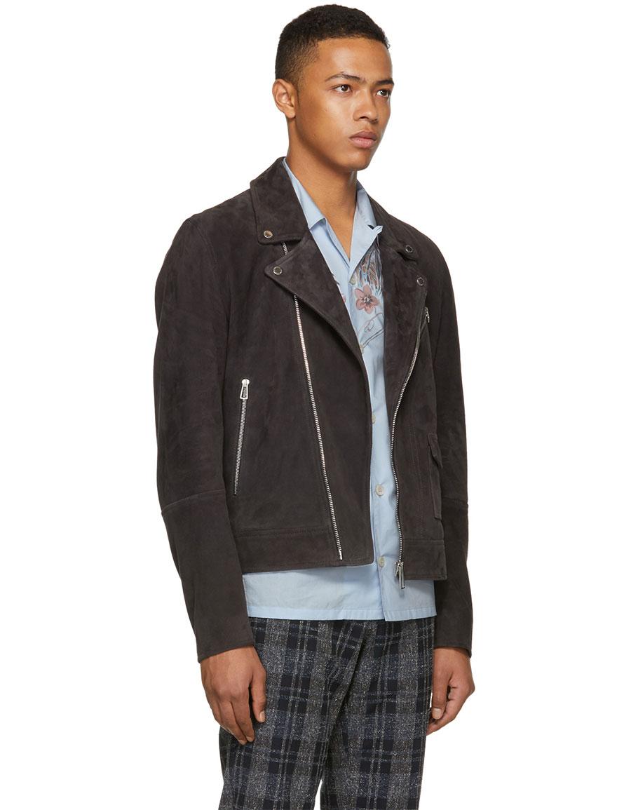 PAUL SMITH Grey Suede Jacket
