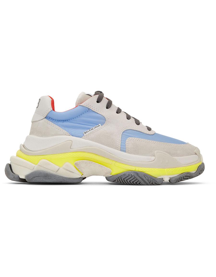 BALENCIAGA Grey & Blue Triple S Sneakers