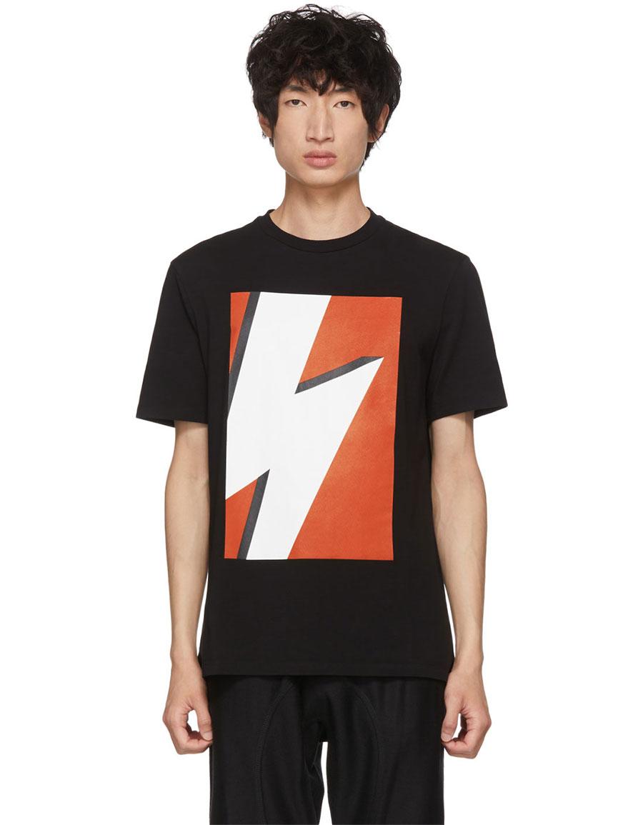 NEIL BARRETT Black & Red Pop Art Thunderbolt T Shirt