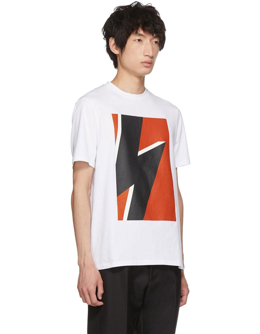 NEIL BARRETT White & Red Pop Art Thunderbolt T Shirt