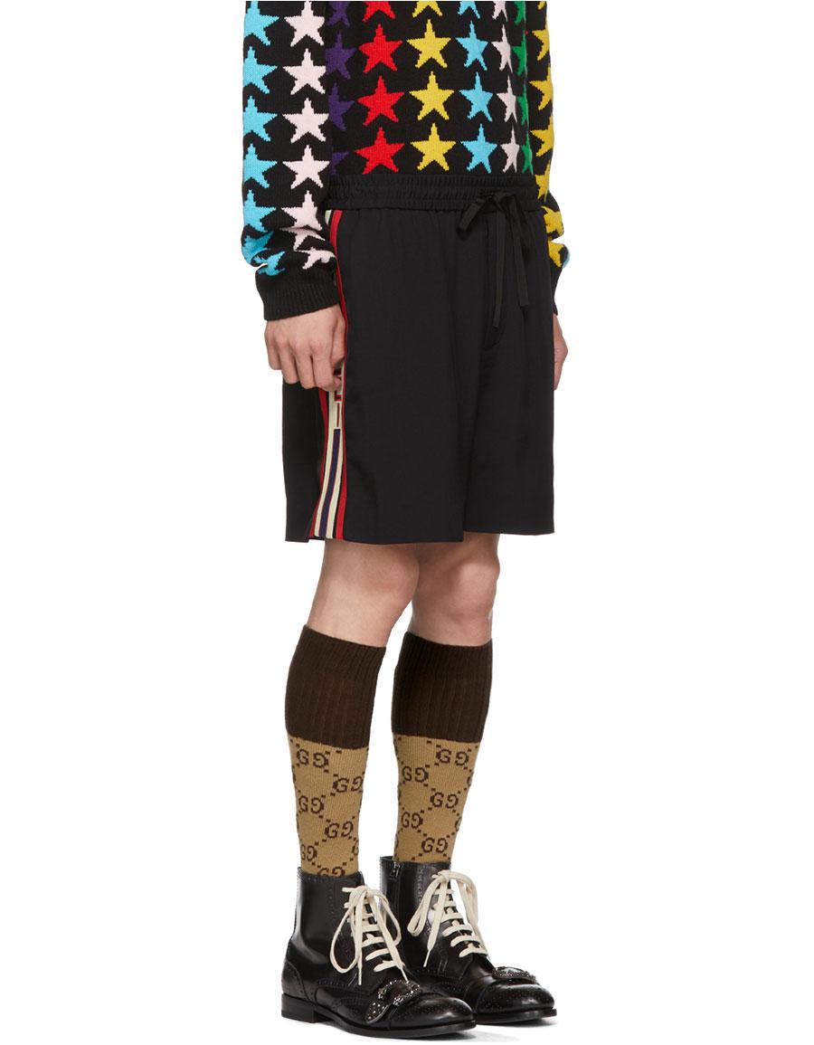 GUCCI Black Logo Tape Shorts
