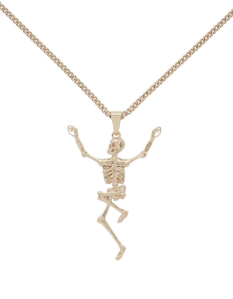 ALEXANDER MCQUEEN Gold Dancing Skeleton Necklace