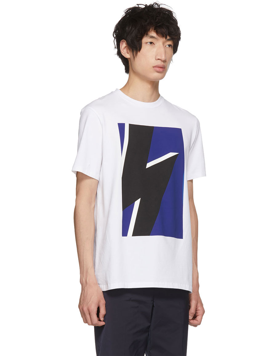 NEIL BARRETT White & Blue Pop Art Thunderbolt T Shirt
