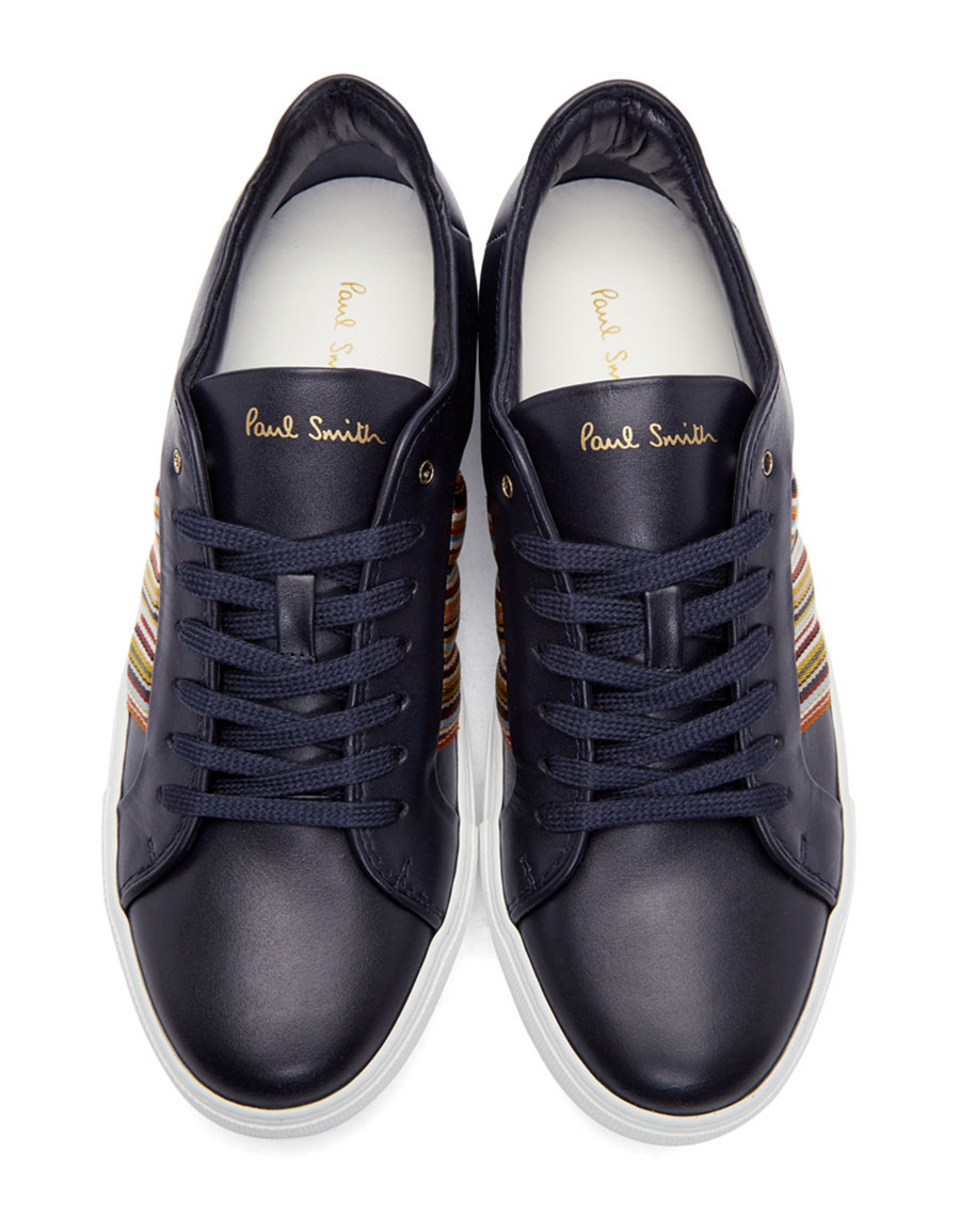 PAUL SMITH Navy Ivo Multistripe Sneakers