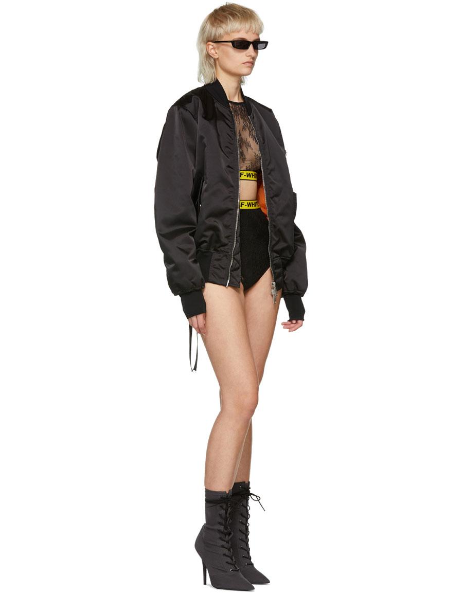 OFF WHITE Black Lace Sporty Ensemble Bodysuit
