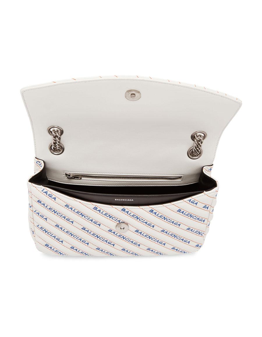 BALENCIAGA White & Blue BB Charm Bag