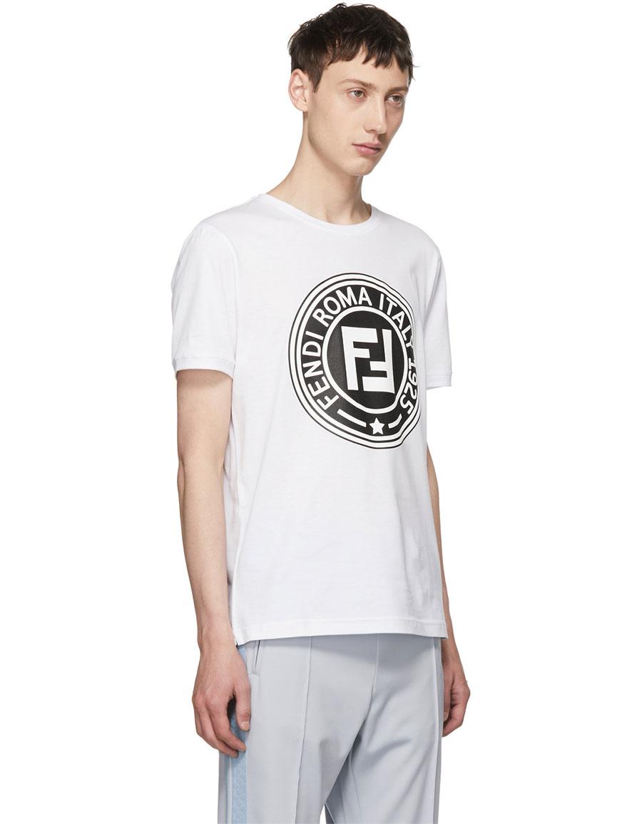 528e53ff5 FENDI White 'Roma' Logo T-Shirt · VERGLE