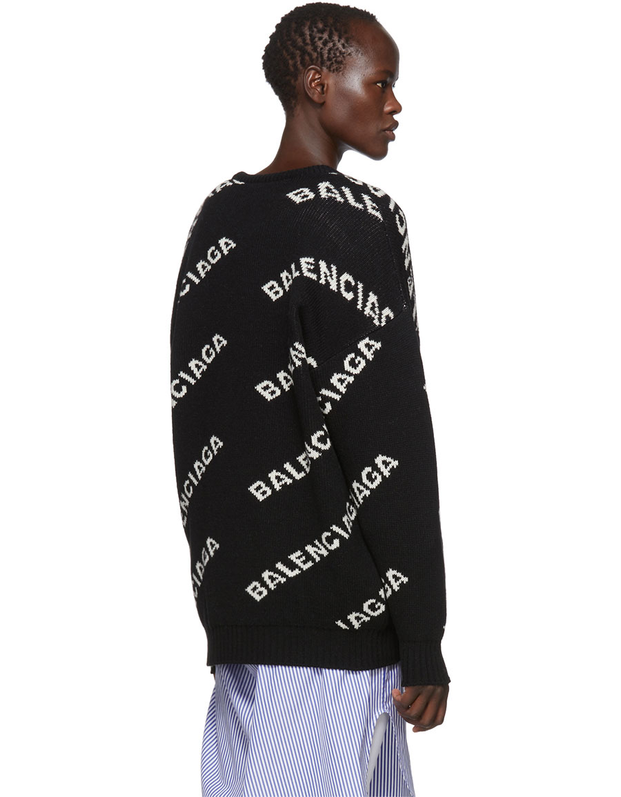 BALENCIAGA Black All Over Logo Crewneck Sweater