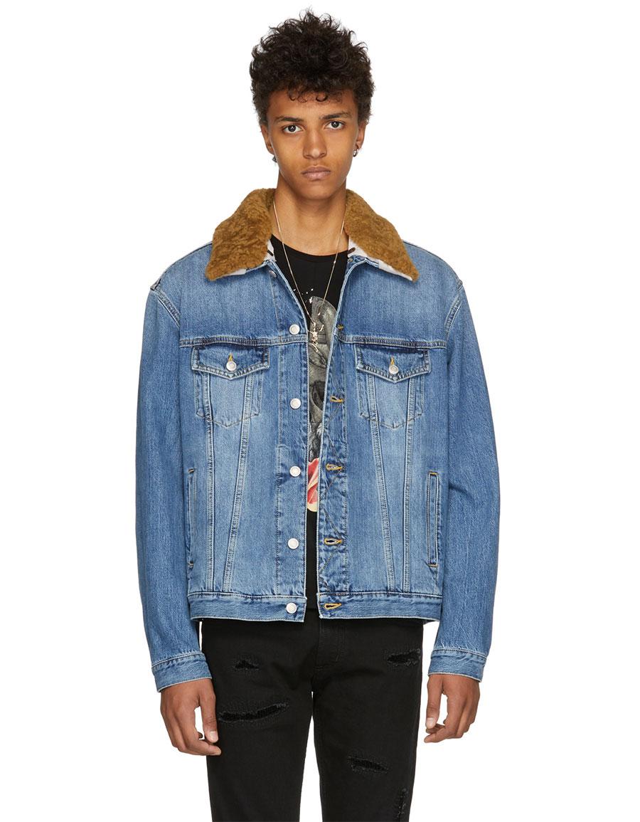 ALEXANDER MCQUEEN Blue Denim Shearling Collar Jacket