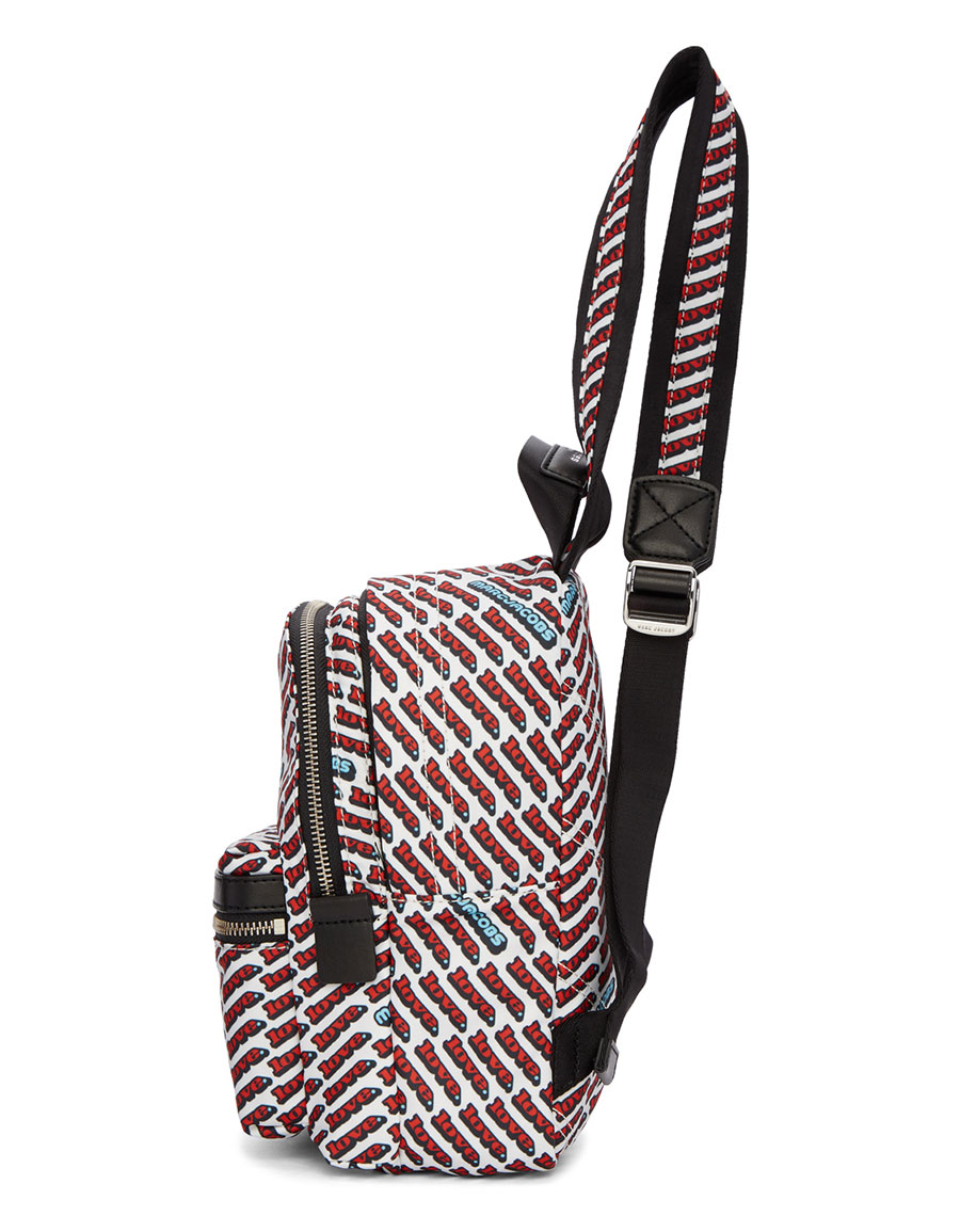 MARC JACOBS White & Red Mini 'Love' Backpack