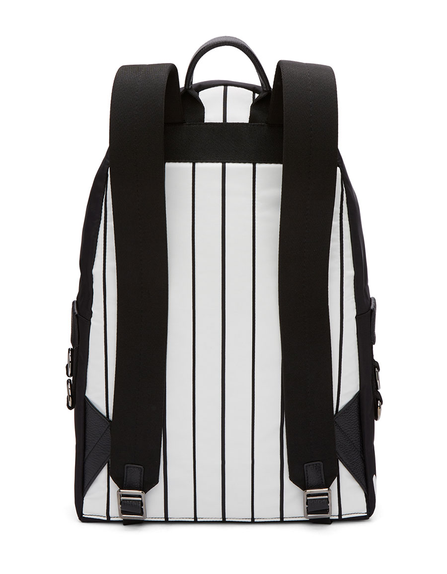 DOLCE & GABBANA Black Striped King Backpack