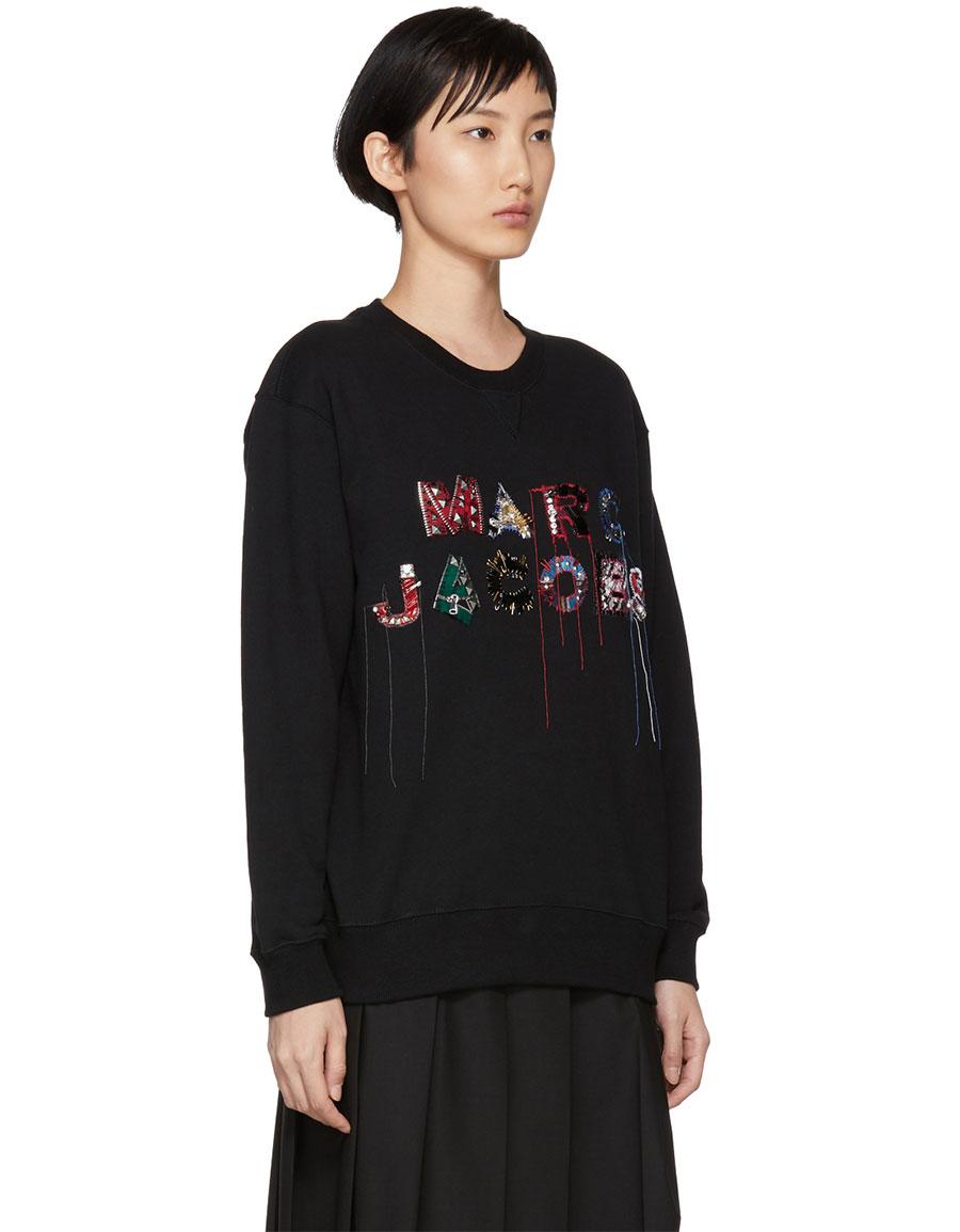 MARC JACOBS Black Lux Embellished Sweatshirt