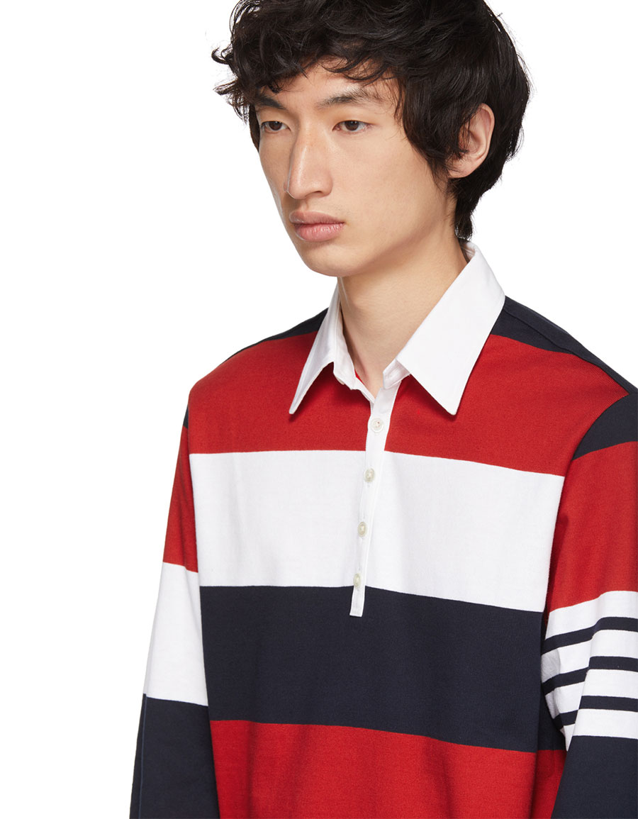 THOM BROWNE Red & White Four Bar Relaxed Polo