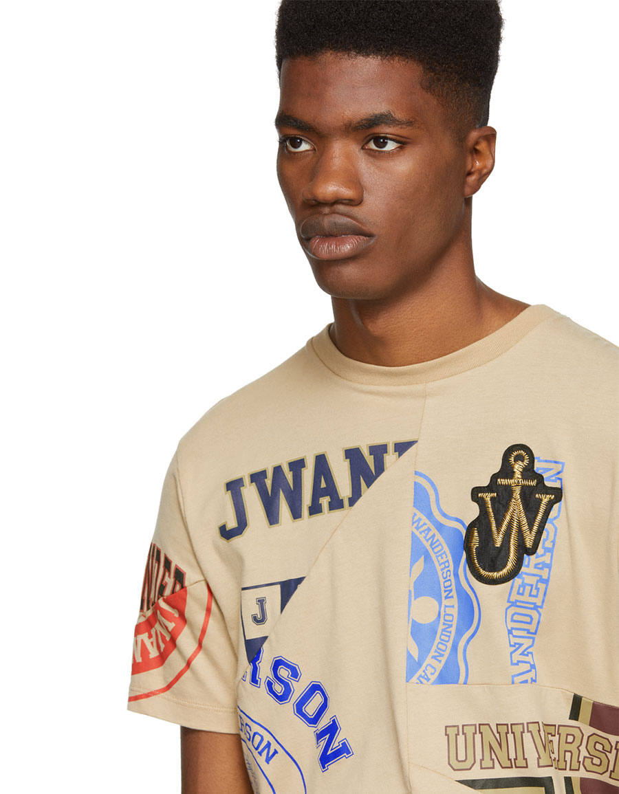 JW ANDERSON Brown Cut Out Printed T Shirt