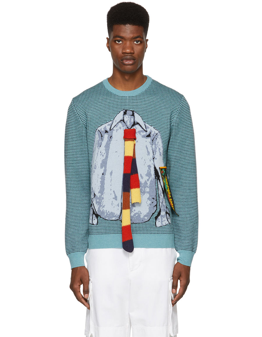 JW ANDERSON Blue & Black Trompe L'Oeil Shirt Crewneck Sweater