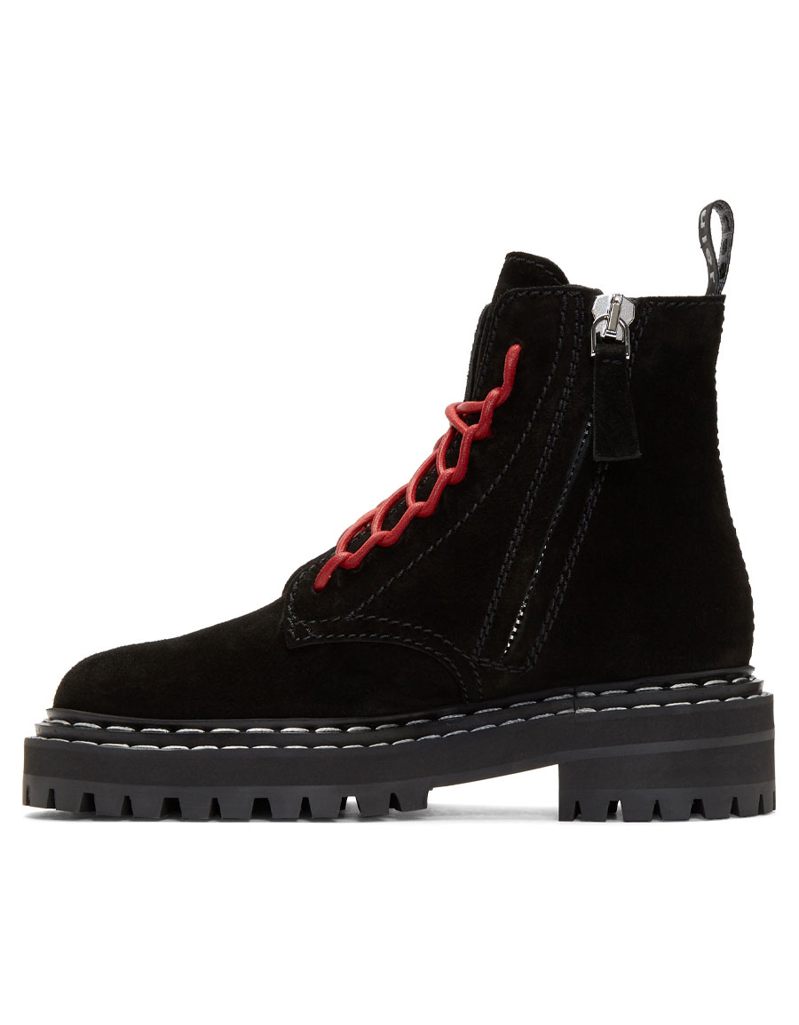 PROENZA SCHOULER Black Suede Lace Up Boots