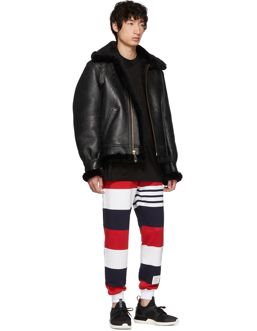 THOM BROWNE Red & White Rugby Stripe Lounge Pants