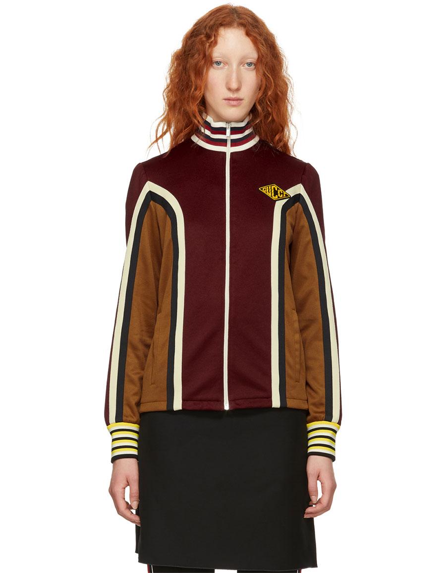 GUCCI Burgundy Panelled Track Jacket