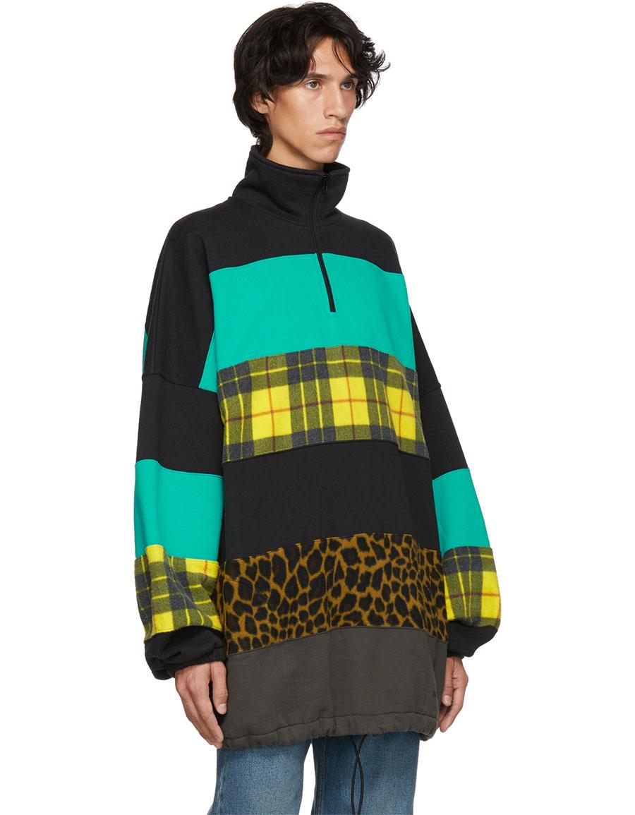 BALENCIAGA Black & Blue Oversized Chimney Sweater