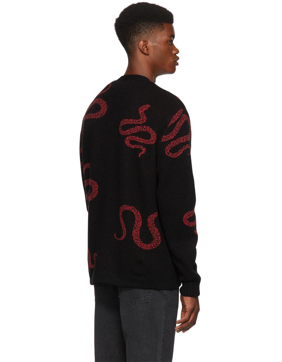 AMIRI Black Cashmere Snake Cardigan