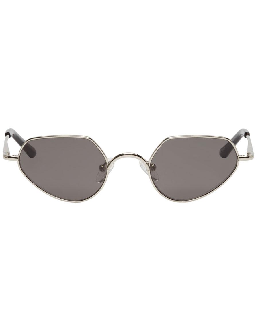 DRIES VAN NOTEN Silver Linda Farrow Edition Angular 176 C1 Sunglasses
