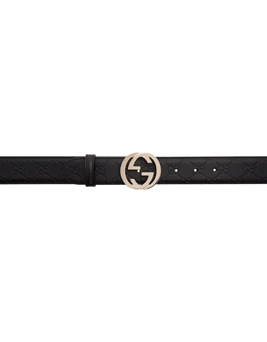 b2a4ccc9e GUCCI Black 'Gucci Signature' Interlocking GG Belt · VERGLE