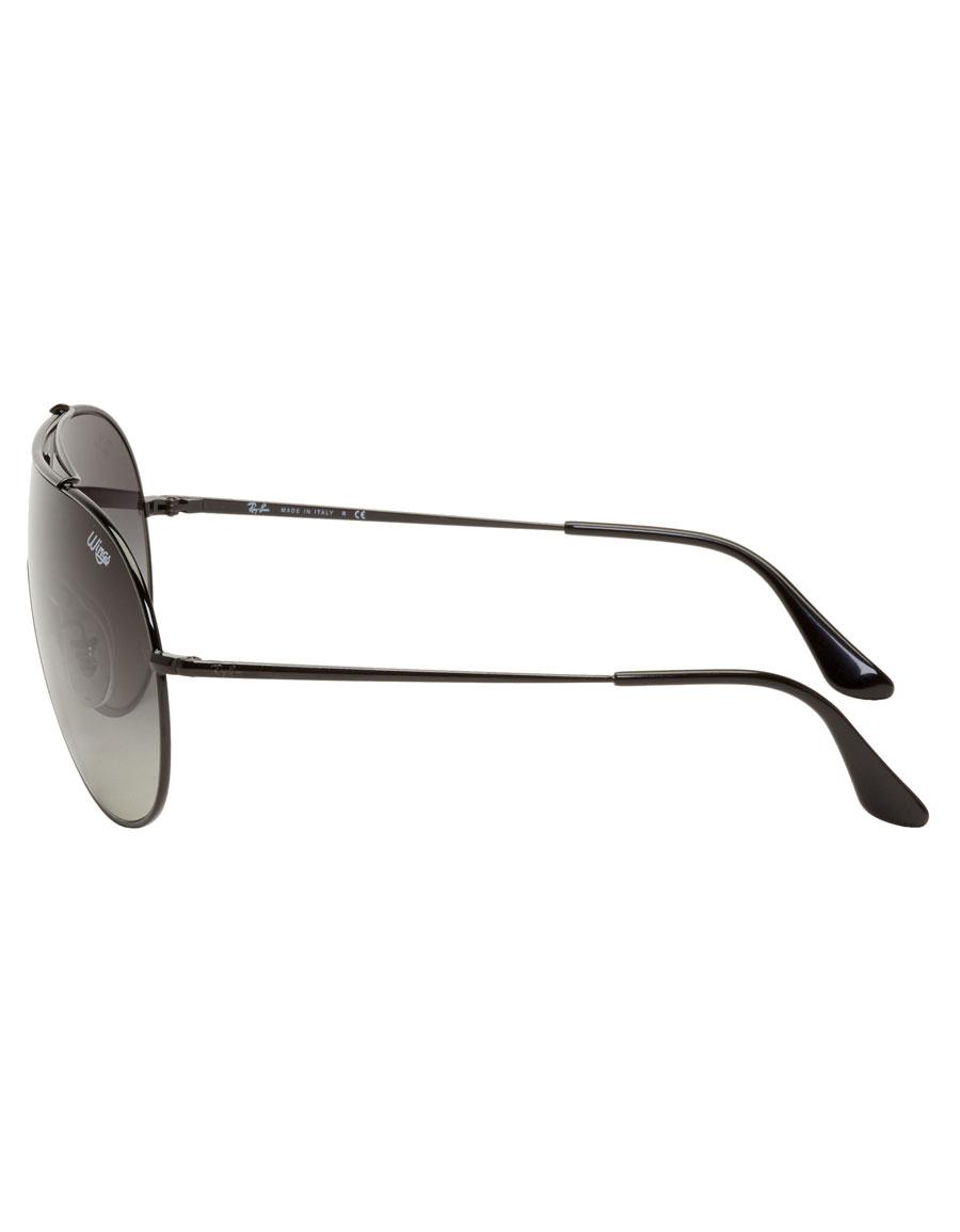 RAY BAN Black & Grey Pilot 'Wings' Sunglasses