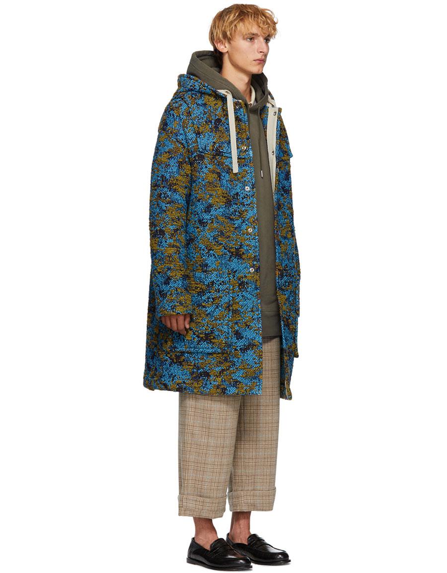 ACNE STUDIOS Blue & Green Wool Duffle Coat