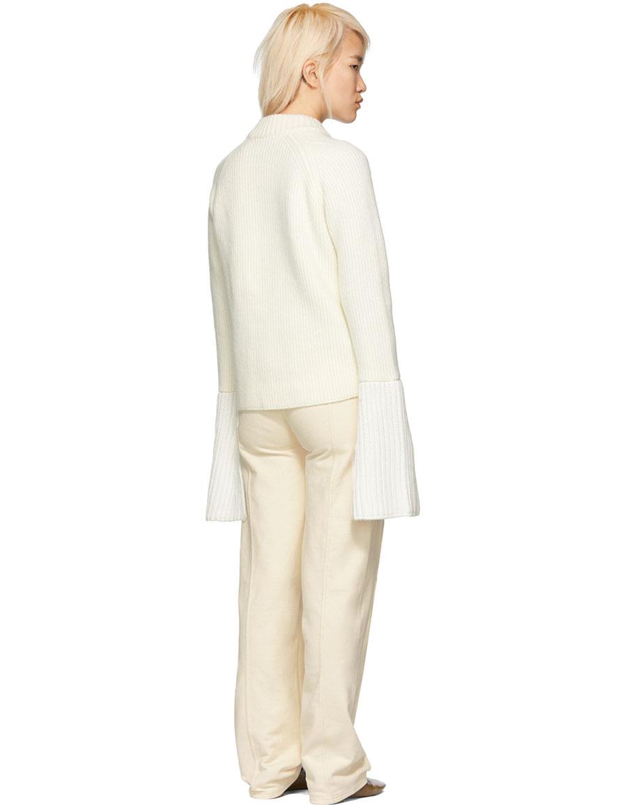 JIL SANDER White Bell Sleeves Sweater
