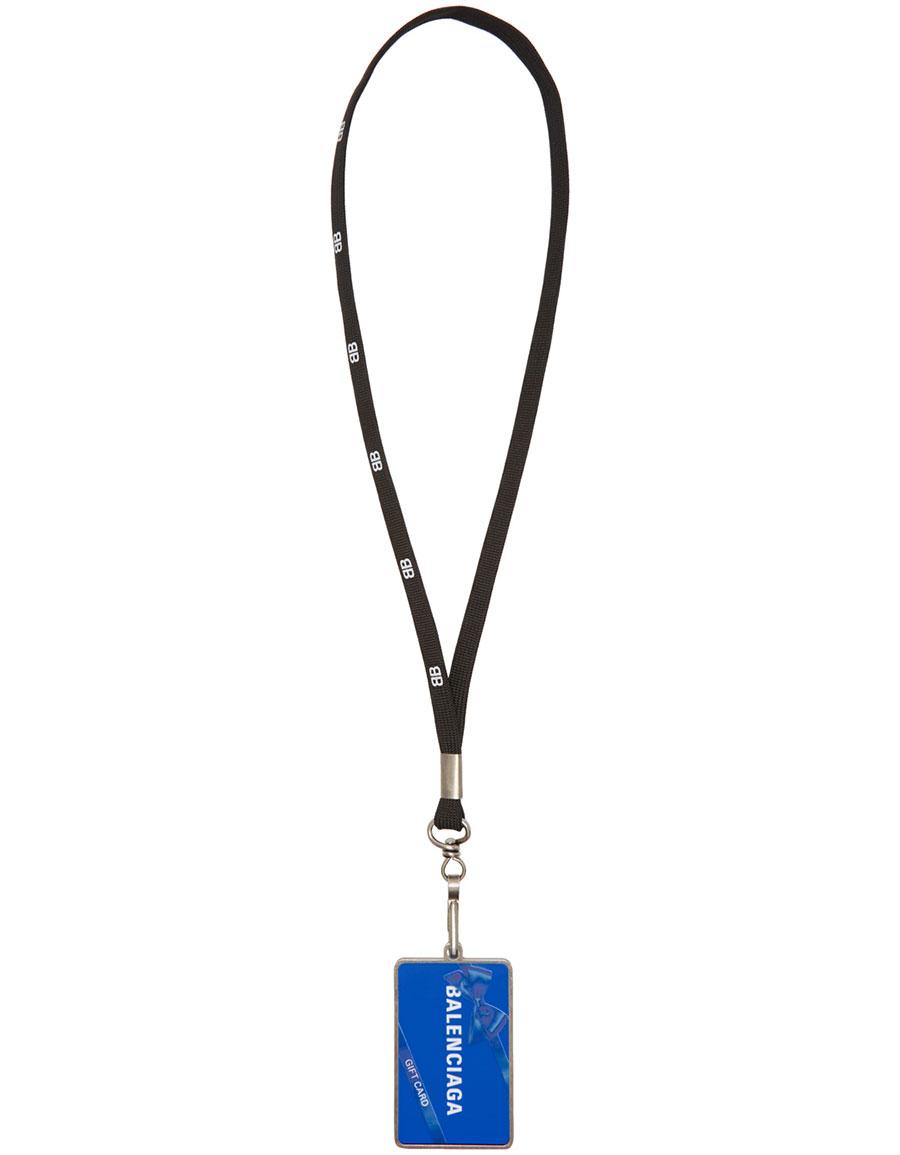 BALENCIAGA Black 'Gift Card' Badge Necklace