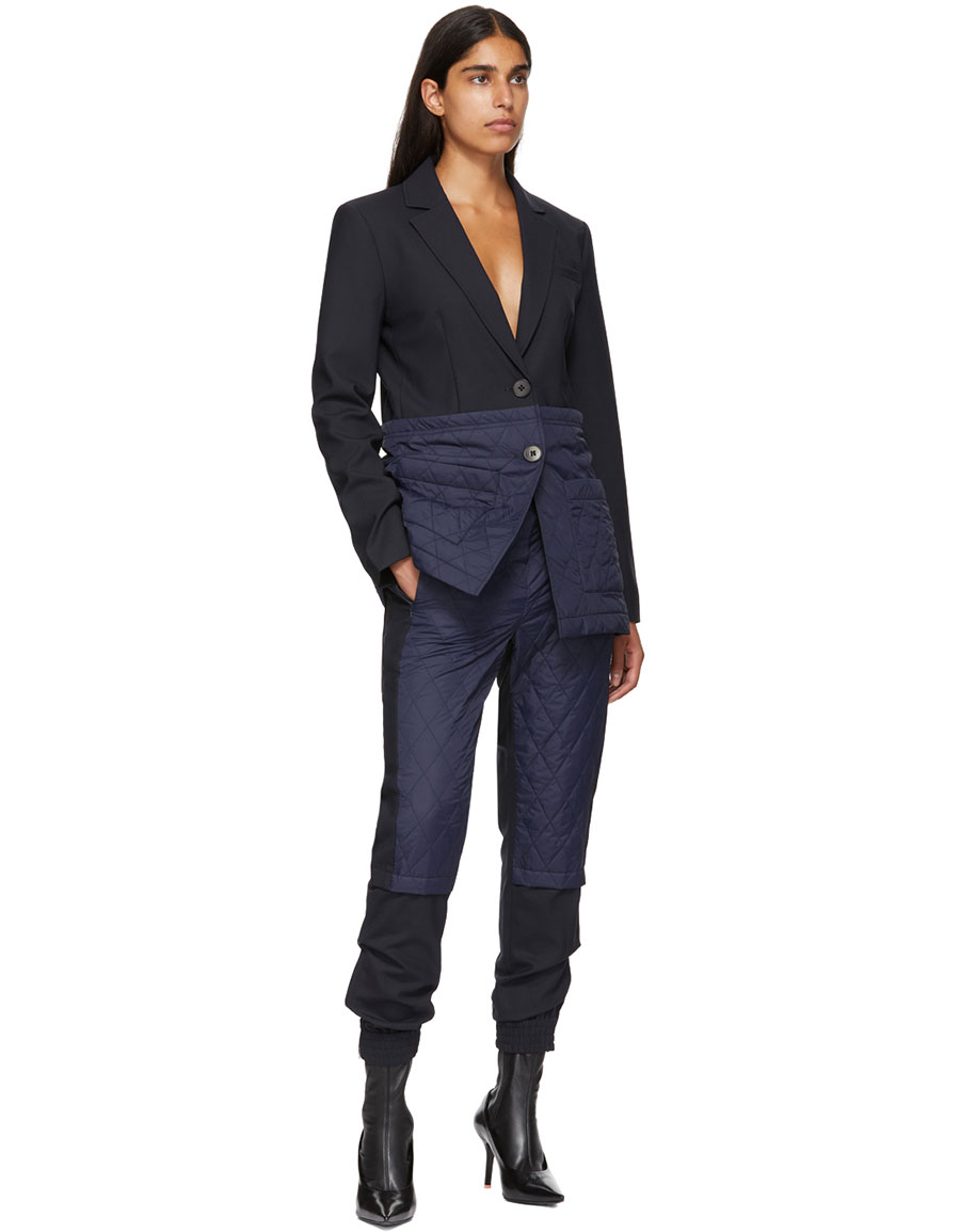 TIBI Navy & Black Quilted Combo Trousers