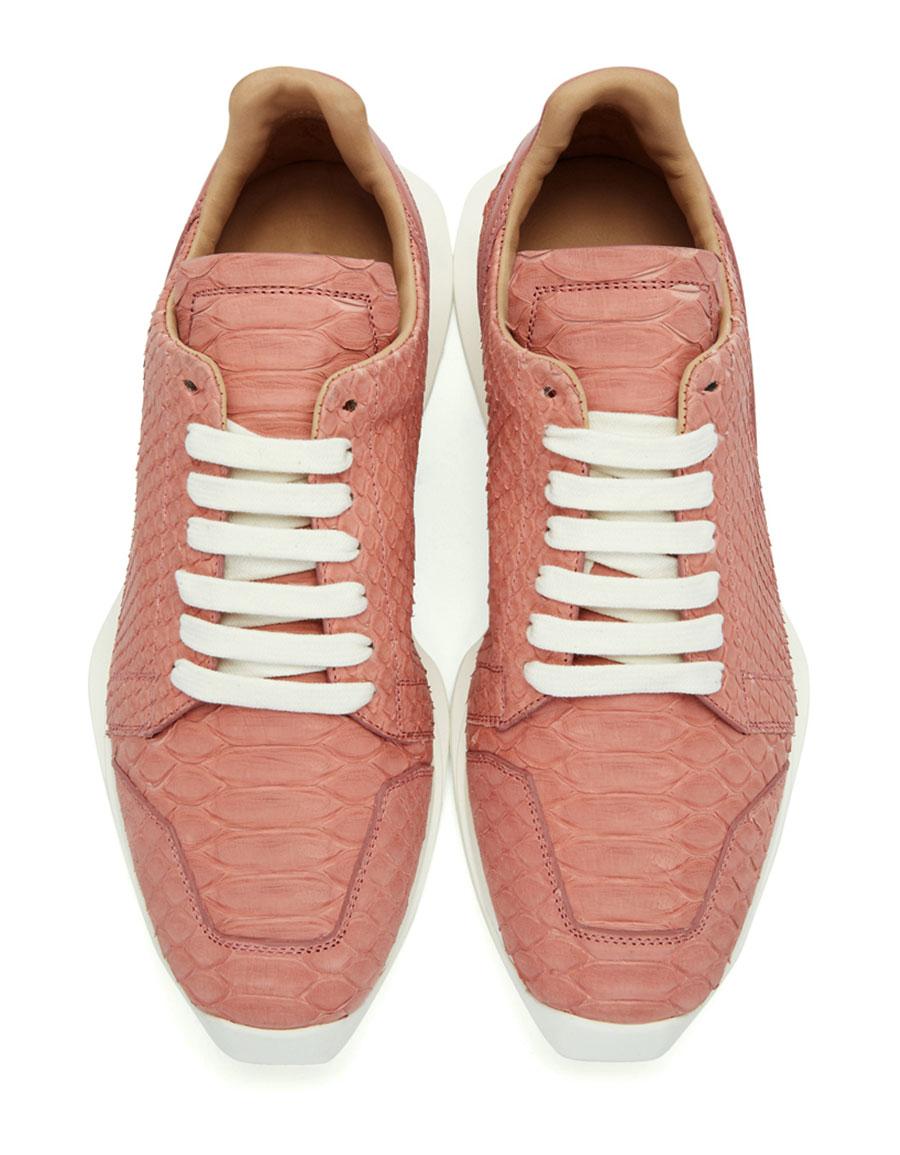 RICK OWENS Pink Python Oblique Sneakers