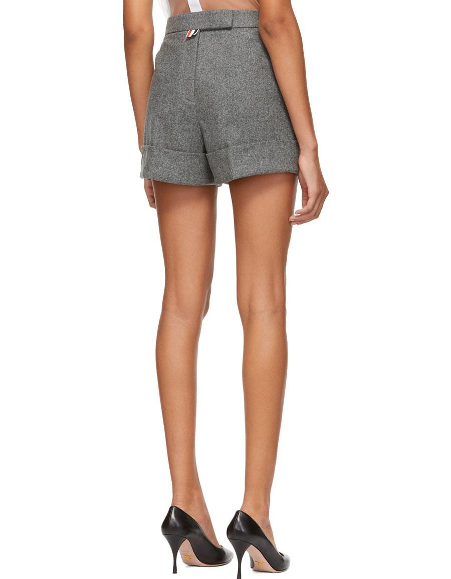 THOM BROWNE Grey Backstrap Mini Shorts