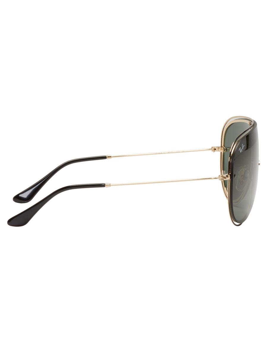 RAY BAN Black & Gold Pilot Aviator Sunglasses