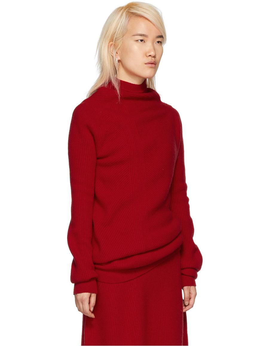 JIL SANDER Red Ribbed Sweater