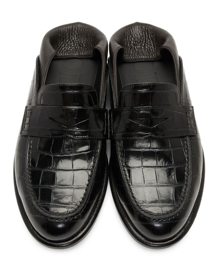 LOEWE Green & Brown Croc Loafers