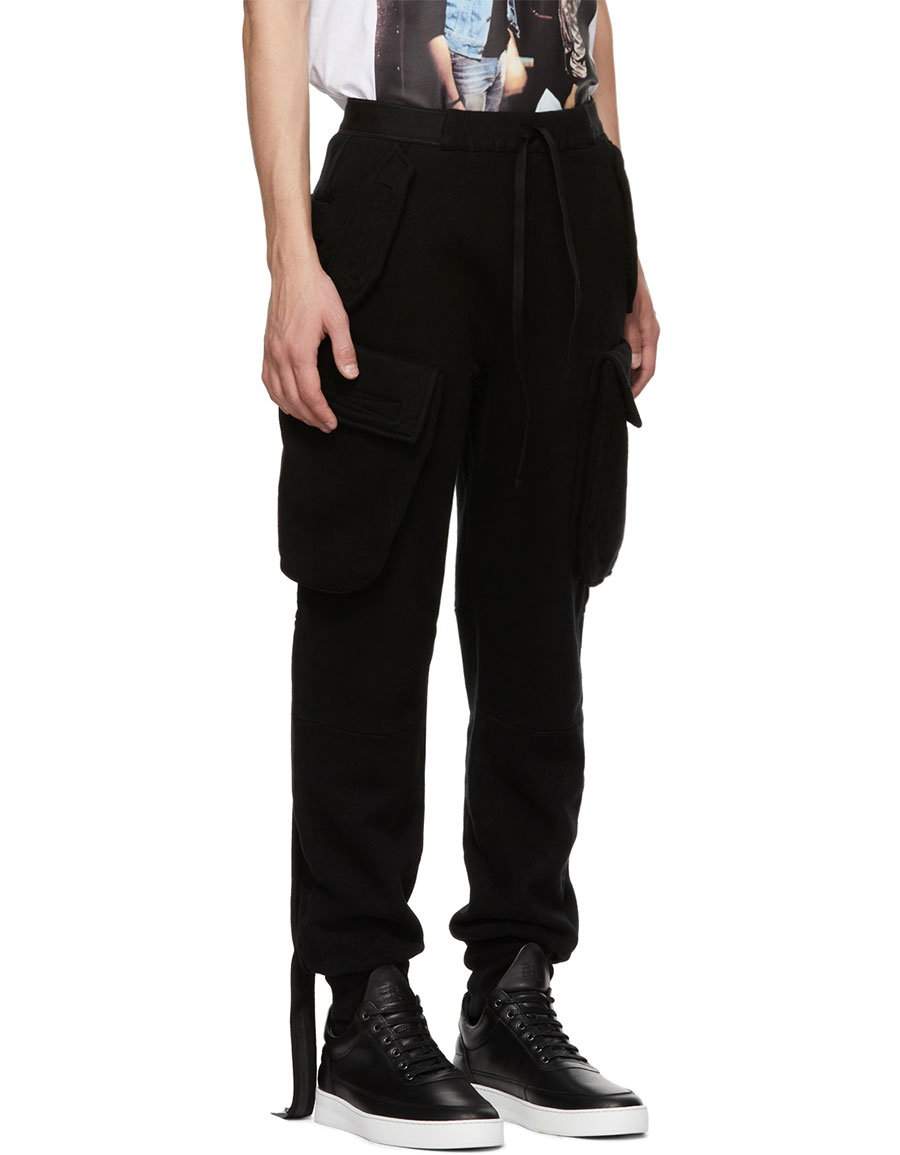 UNRAVEL Black Dropped Cargo Pants