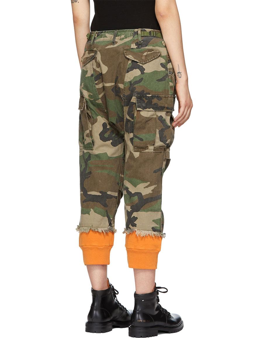 5246c97b8b6c6a R13 Green & Orange Camo Harem Cuffs Cargo Trousers · VERGLE
