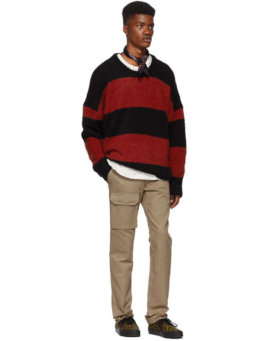 AMIRI Black & Red Wool Striped Sweater