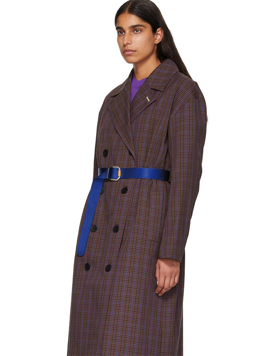 TIBI Multicolor Oversized Check Trench Coat