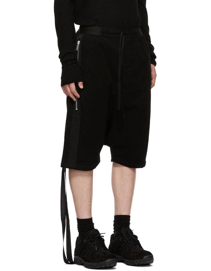 UNRAVEL Black Cotton Dropped Shorts