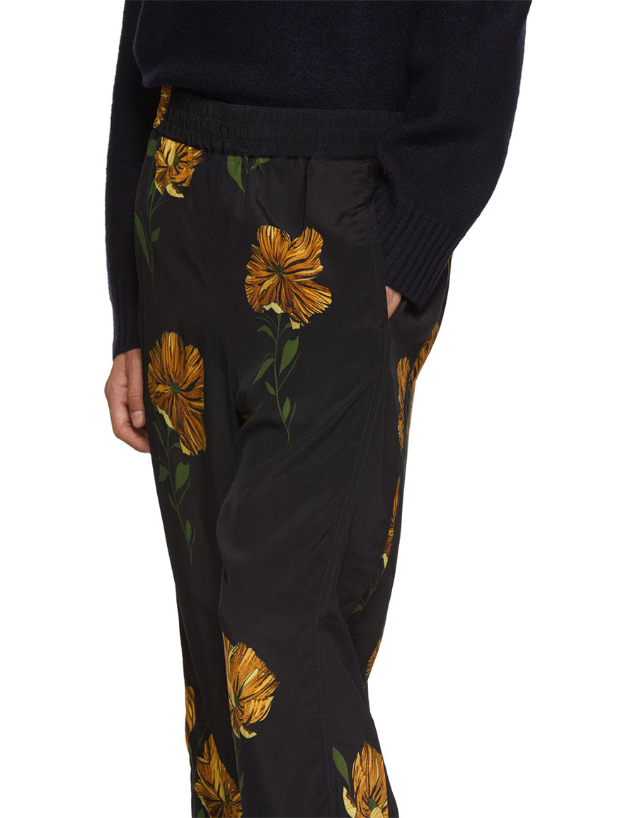 HOPE Black Flower Print Break Trousers