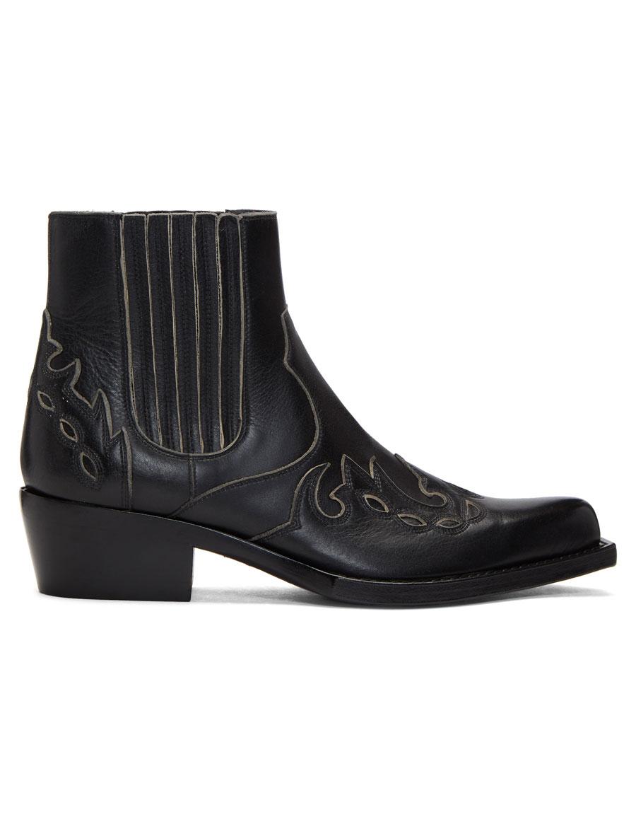 393234f6a9d CALVIN KLEIN Black Western Chelsea Boots · VERGLE