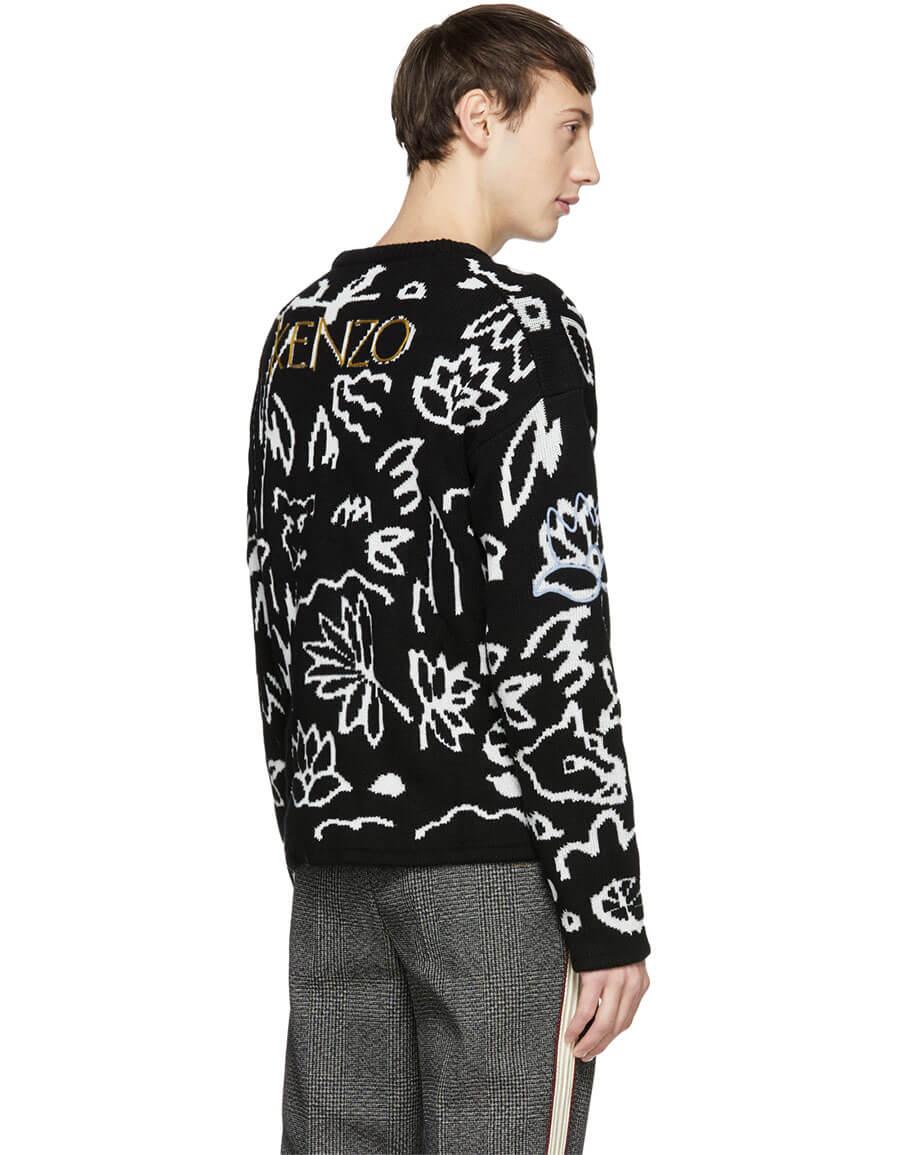 KENZO Black & White Sketch Memento Sweater