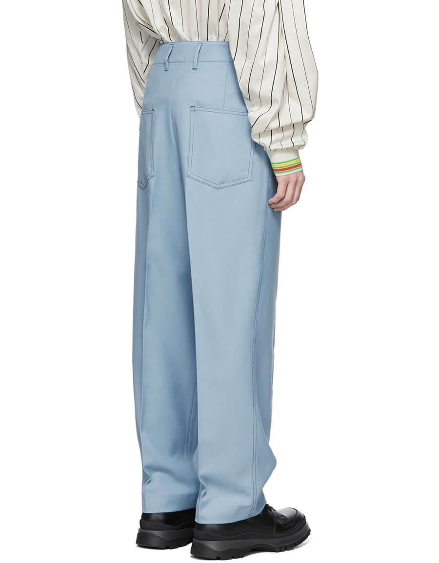 KENZO Blue Pleated Memento Straight Cut Trousers
