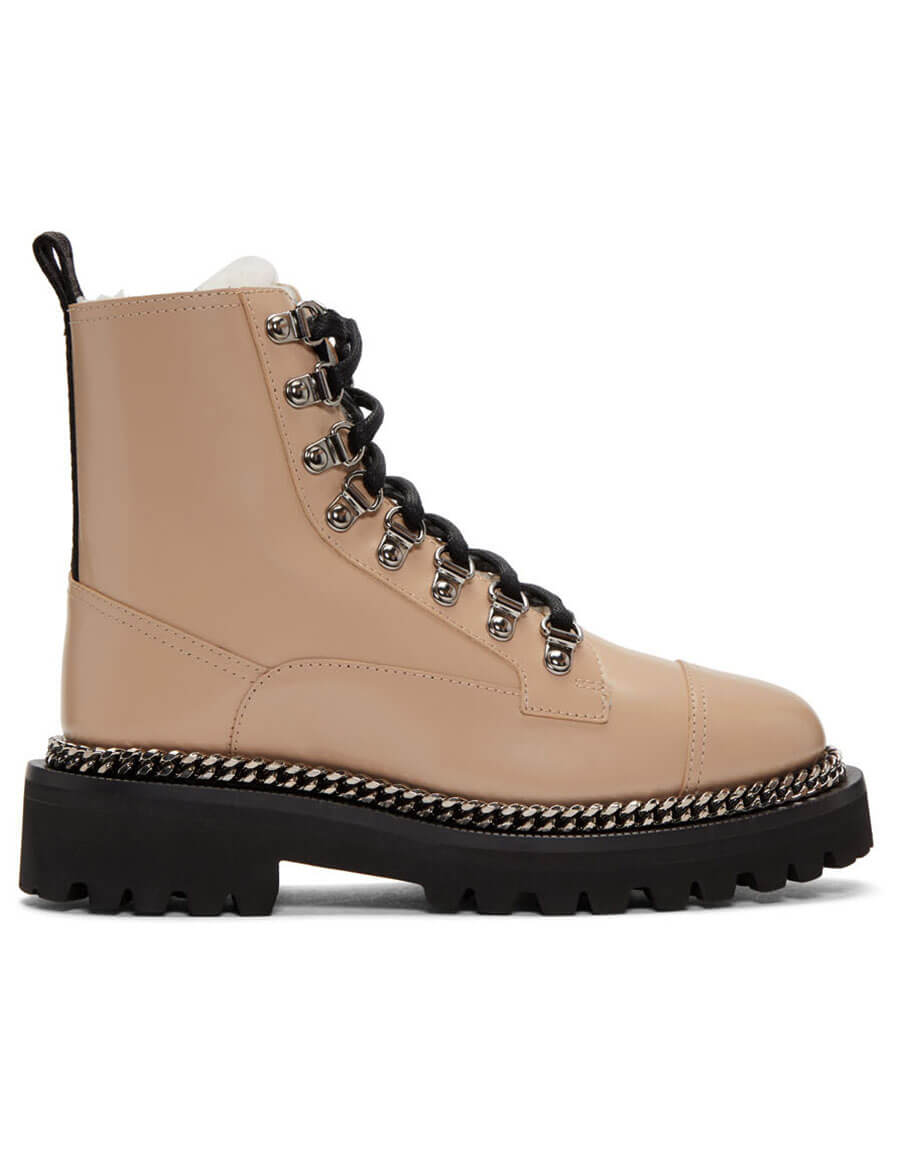 BALMAIN Taupe Fur Army Boots