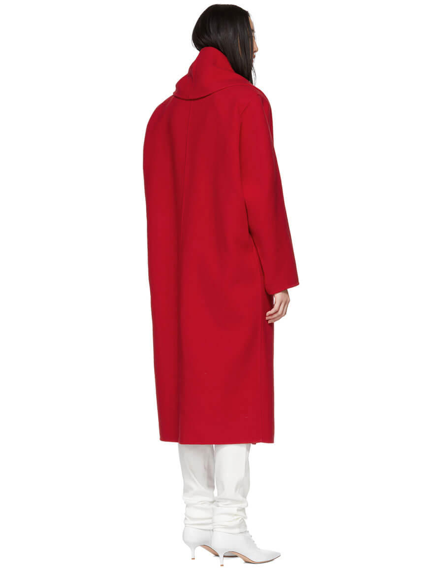 MARC JACOBS Red Wool Shawl Collar Coat