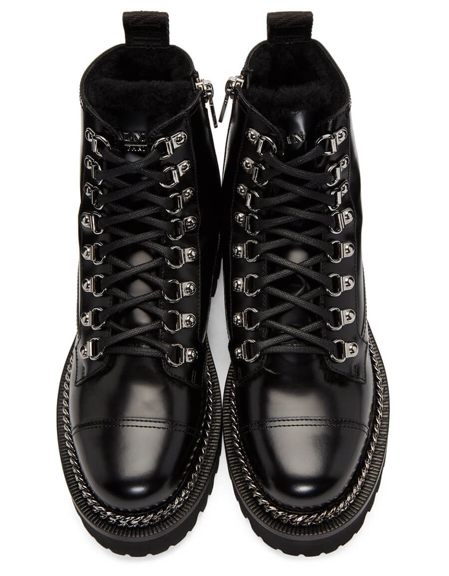 BALMAIN Black Fur Army Boots