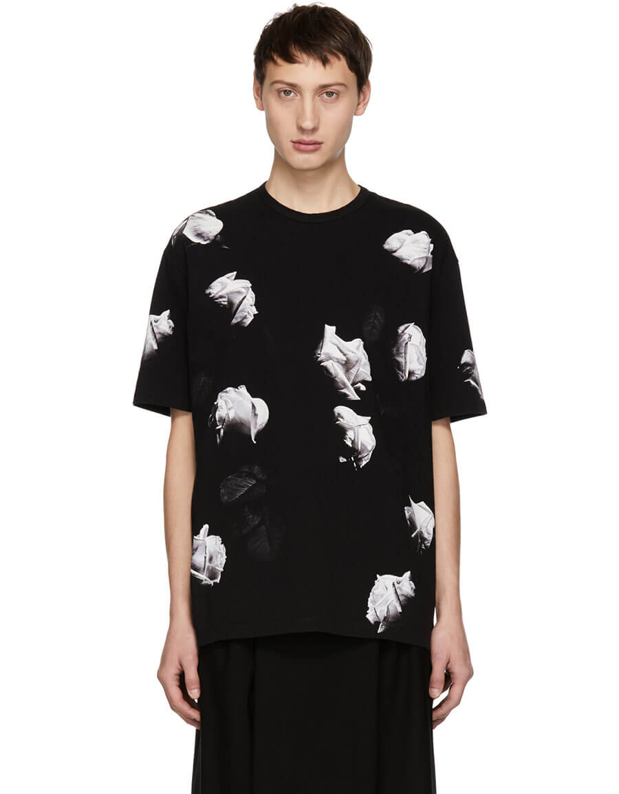 LAD MUSICIAN Black & White Big Rose T Shirt