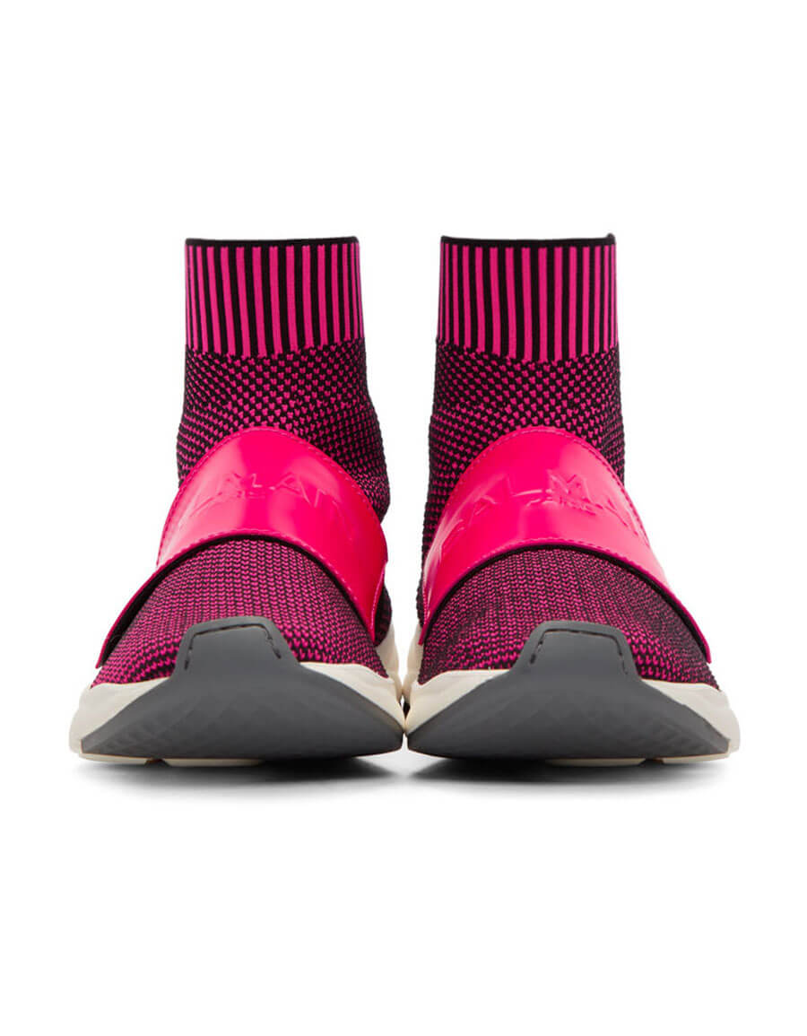 BALMAIN Pink & Black Cameron Sneakers